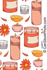 Seamless pattern with relax candles in row. Coloring sketch. Various wax candles with orange, calendula flower and petal. Vector spa, relaxation element