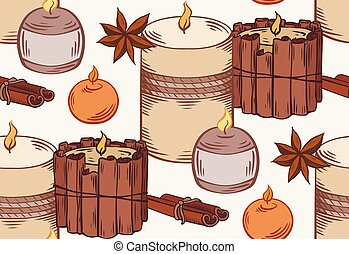 Seamless pattern with relax candles in row. Coloring sketch with hatching. Various wax candles with star anise, cinnamon stick. Vector spa, relaxation elements