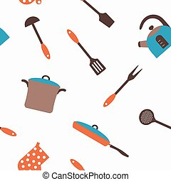 Seamless pattern with restaurant and kitchen utensils