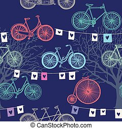 Seamless pattern with retro bicycle. Evening background