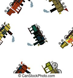 Seamless pattern with retro steam locomotives in cartoon style on white background.