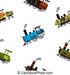 Seamless pattern with retro steam puffers in cartoon style on white background.