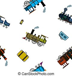 Seamless pattern with retro steam trains and bags in cartoon style on white background.