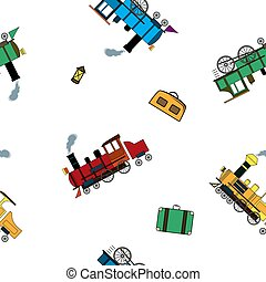 Seamless pattern with retro steam trains and luggage in cartoon style on white background.