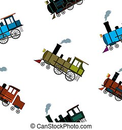 Seamless pattern with retro steam trains in cartoon style on white background.