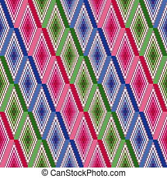 Seamless vector pattern of repetitive rhombic elements with blue, pink and green colors