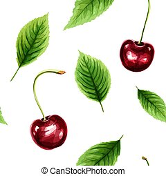 Seamless pattern with ripe cherry and green leaves