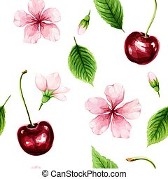 Seamless pattern with ripe cherry, green leaves and pink flowers