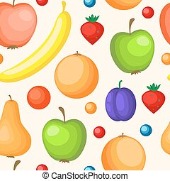 Seamless pattern with ripe fruit