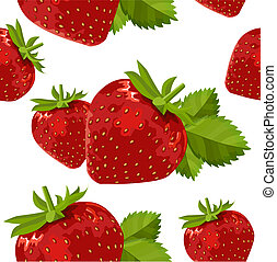Seamless pattern with ripe strawberry on white