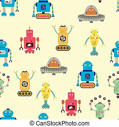 Seamless pattern with robots