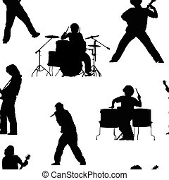 Seamless pattern with rock musicians