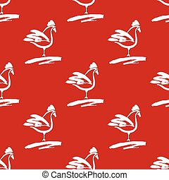 Seamless pattern with roosters. Drawn cocks brush on the red bac