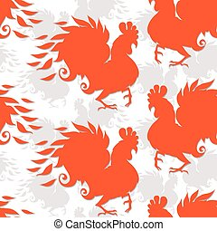 Seamless pattern with roosters. The symbol of the chinese new year of rooster