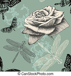 Seamless pattern with rose, decorat