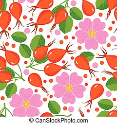 Seamless pattern with rose hip. Design for paper, textile or...