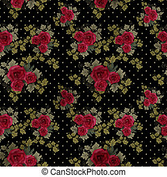 Seamless pattern with roses on black