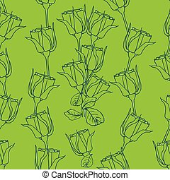 Seamless pattern with roses on green. Vector illustration