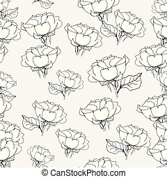Seamless pattern with roses on grey. Vector illustration