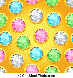 Seamless pattern with round jewels.