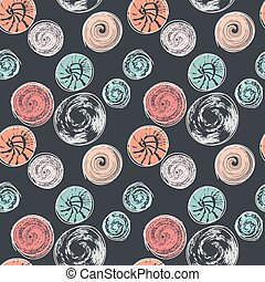 Seamless pattern with round textured stains. Abstract background with different circular prints. Spots, blots