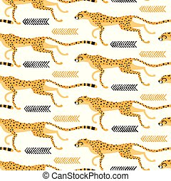 Seamless pattern with running cheetahs, leopards. Repeating exotic wild cats on a white background. Vector illustration