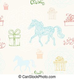Seamless pattern with running horses