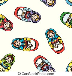 Seamless pattern with russian doll