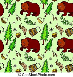 Seamless pattern with  Russian traditional elements