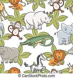 Seamless pattern with safari animals