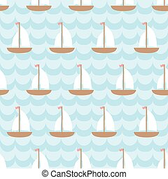 Seamless pattern with sailing ship in the sea.