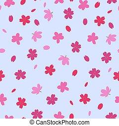 Seamless pattern with sakura flowers. Vector graphics.