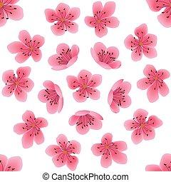 Seamless pattern with sakura flowers