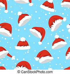 Seamless Pattern with Santa Hats and Snow on Blue Background