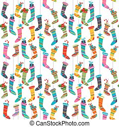 Seamless pattern with Santa socks