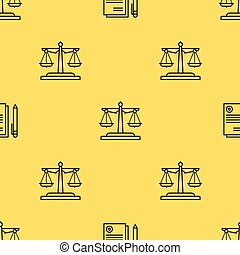 Seamless pattern with scales of justice