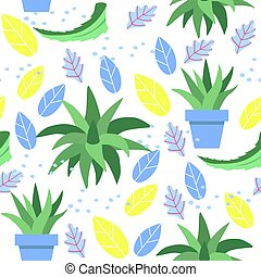Seamless pattern with scarlet and aloe Vera leaves in pot on white background. Plant used in folk medicine.