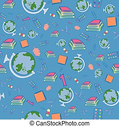 Seamless Pattern with School Items