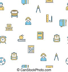 Seamless pattern with school supplies