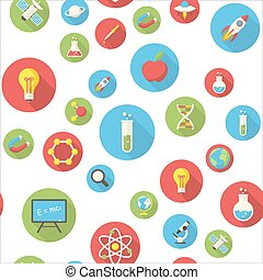 Seamless pattern with science icons