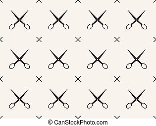 Seamless pattern with scissors, vector, tailoring