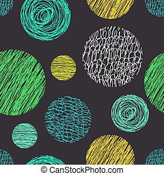 Seamless pattern with scribbles circles.
