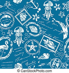 Seamless pattern with Sea and tropical elements - rubber stamps collection - white silhouette on blue background