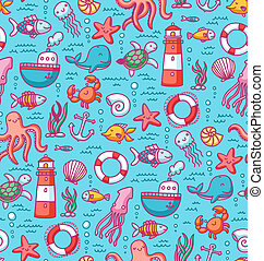 Seamless pattern with sea creatures doodles and nautical...