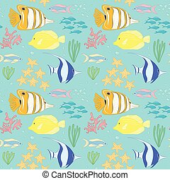 Seamless pattern with sea fish.