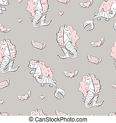 Seamless pattern with sea horses.