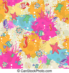 Seamless pattern with sea inhabitants on the background color blots, inks. Vector illustration.