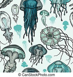 Seamless pattern with sea jellyfish.
