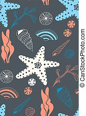 Seamless pattern with sea shells