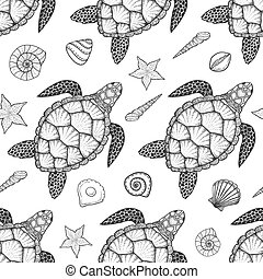Seamless pattern with sea turtle and shells in line art...